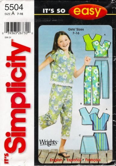 Girls' Top Capri Pants Skirt Sewing Pattern Size 7-16 Simplicity 5504 UNCUT