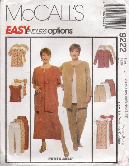 Women's Jacket Dress Top Pants Shorts Sewing Pattern Size 26W-30W McCall's 9222 UNCUT