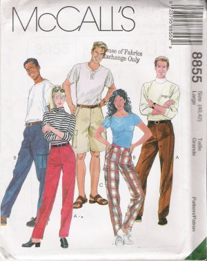 Misses' & Men's Pants Shorts Sewing Pattern Size L McCall's 8855 UNCUT