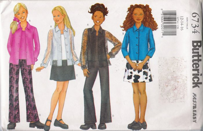 Girls' Shirt Camisole Skirt Pants Sewing Pattern Size 12-16 Butterick 6734 UNCUT