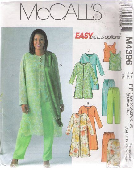 Women's Pants Top Skirt Duster Sewing Pattern Size 18-24 McCall's 4396 UNCUT