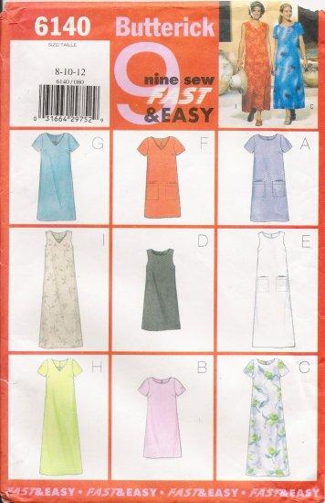 Misses' Dress Sewing Pattern Size 8-12 Butterick 6140 UNCUT