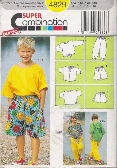 Children's, Boys' & Girls' T-Shirt Shorts Pants Sewing Pattern Size 4-10 Burda 4829 UNCUT