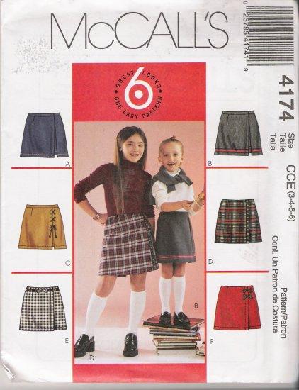 Girls' Skorts Sewing Pattern Size 3-6 McCall's 4174 UNCUT