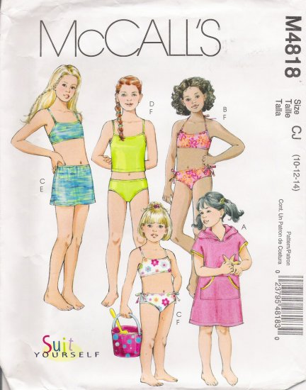 Children's Girls' Cover Up Bathing Suit Tops & Bottoms Sewing Pattern Size 10-14 McCall's 4818 UNCUT