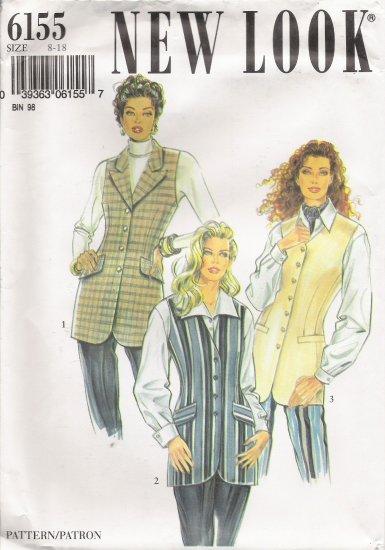 Misses' Vest Sewing Pattern Size 8-18 Simplicity New Look 6155 UNCUT