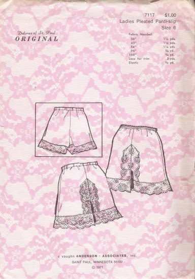 Vintage Sewing Pattern Ladies Pleated Panti-Slip Size 6 Dolores Of St. Paul 7117 UNCUT