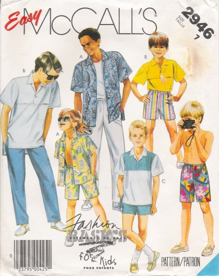 Children's Or Boys' Shirts, Pants, Shorts Sewing Pattern Size 7 McCall's 2946 UNCUT