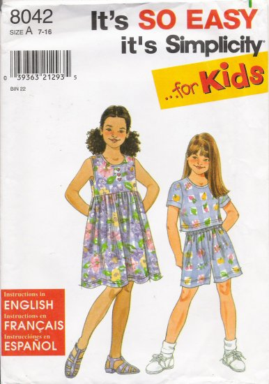 Girls' Dress Top Shorts Sewing Pattern Size 7-16 Simplicity 8042 UNCUT