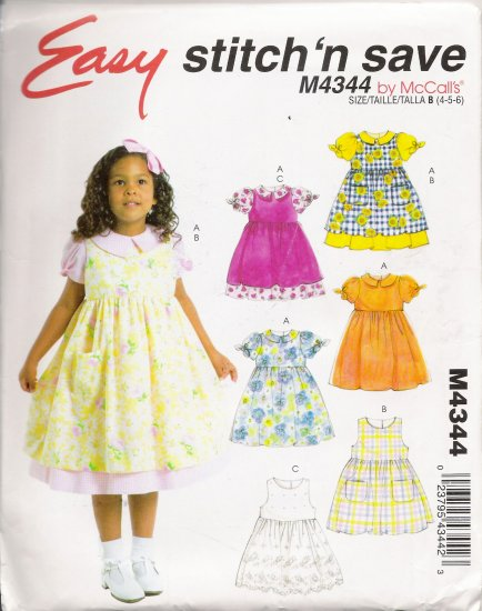 Toddlers' and Childrens' Dress and Pinafores Sewing Pattern Size 4-6 McCall's 4344 UNCUT