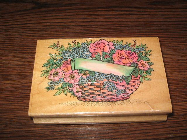 Flower Basket With Label Wood Mounted Rubber Stamp by Embossing Arts
