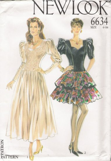 Misses' Dress Sewing Pattern Size 6-16 Simplicity New Look 6634 UNCUT