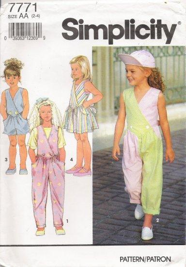 Child's Jumpsuit & Jumper Sewing Pattern Size 2-4 Simplicity 7771 UNCUT
