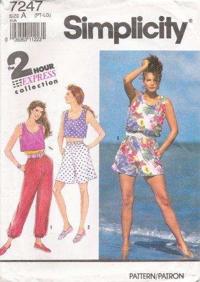 Misses' Pants Shorts Tank Top Sewing Pattern Size PT-LG Simplicity 7247 UNCUT