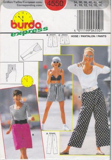 Misses' Pants & Shorts Sewing Pattern Size 8-18 Burda 4550 UNCUT