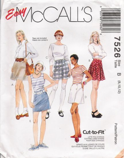 Misses' Skirts Sewing Pattern Size 8-12 McCall's 7526 UNCUT