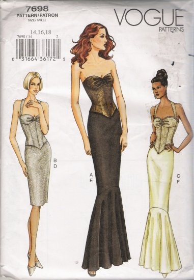 Misses' Boned Top & Skirt Sewing Pattern Size 14-18 Vogue 7698 UNCUT