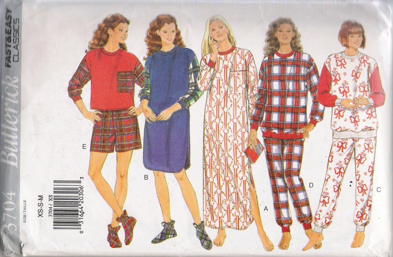 Misses' Nightshirt Pajamas Booties Sewing Pattern Size XS-M Butterick 3704 UNCUT