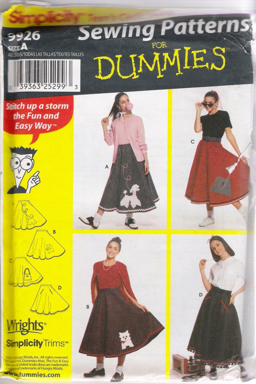 Teens' Circle Skirt & Appliqués Sewing Pattern Waist Size 23-37 Simplicity 9926 UNCUT