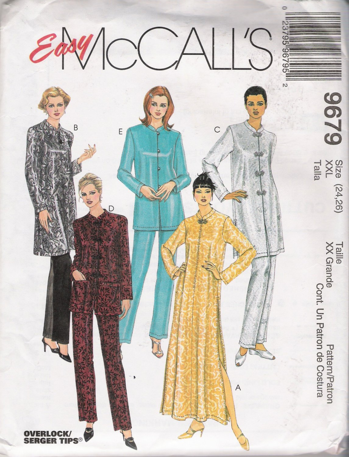 Misses' Robe or Top & Pants Plus Size Sewing Pattern Size 24-26 McCall's 9679 UNCUT