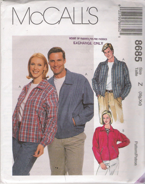 Misses' & Men's Unlined Jacket Sewing Pattern Size XL-XXL McCall's 8685 UNCUT