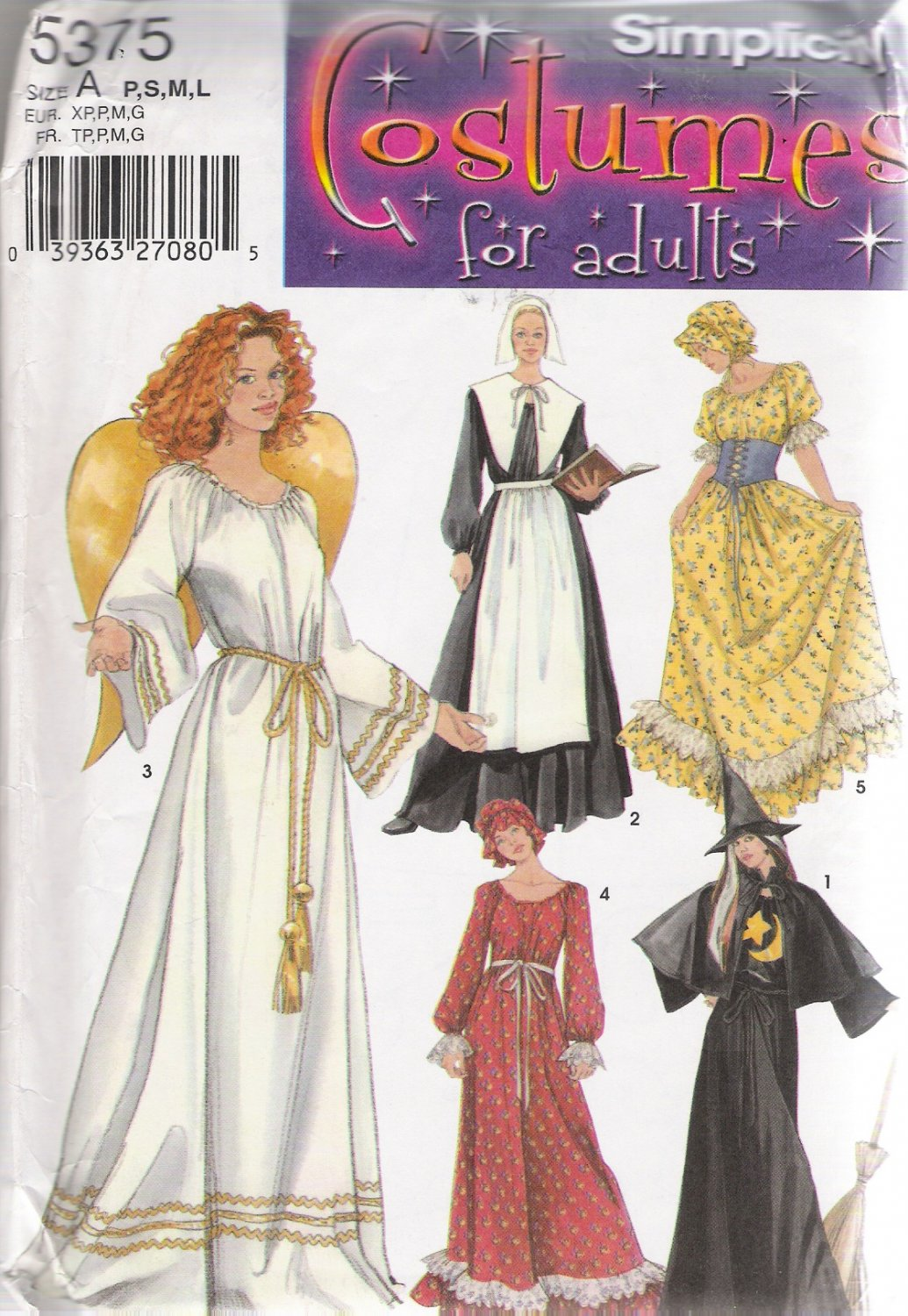 Misses' Halloween Costume Sewing Pattern Size P-L Simplicity 5375 UNCUT