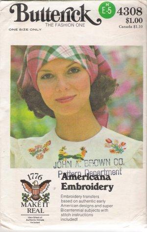 Vintage Bicentennial Americana Embroidery Transfers Pattern Butterick 4308 UNCUT