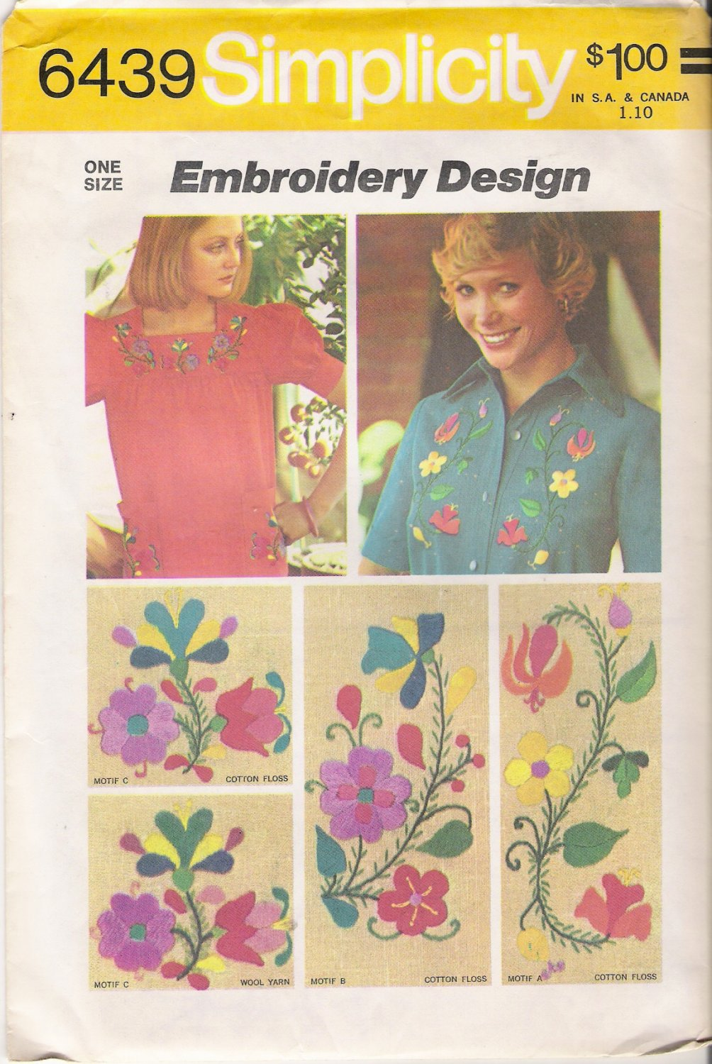 Vintage Floral Embroidery Transfers Pattern Simplicity 6439 CUT