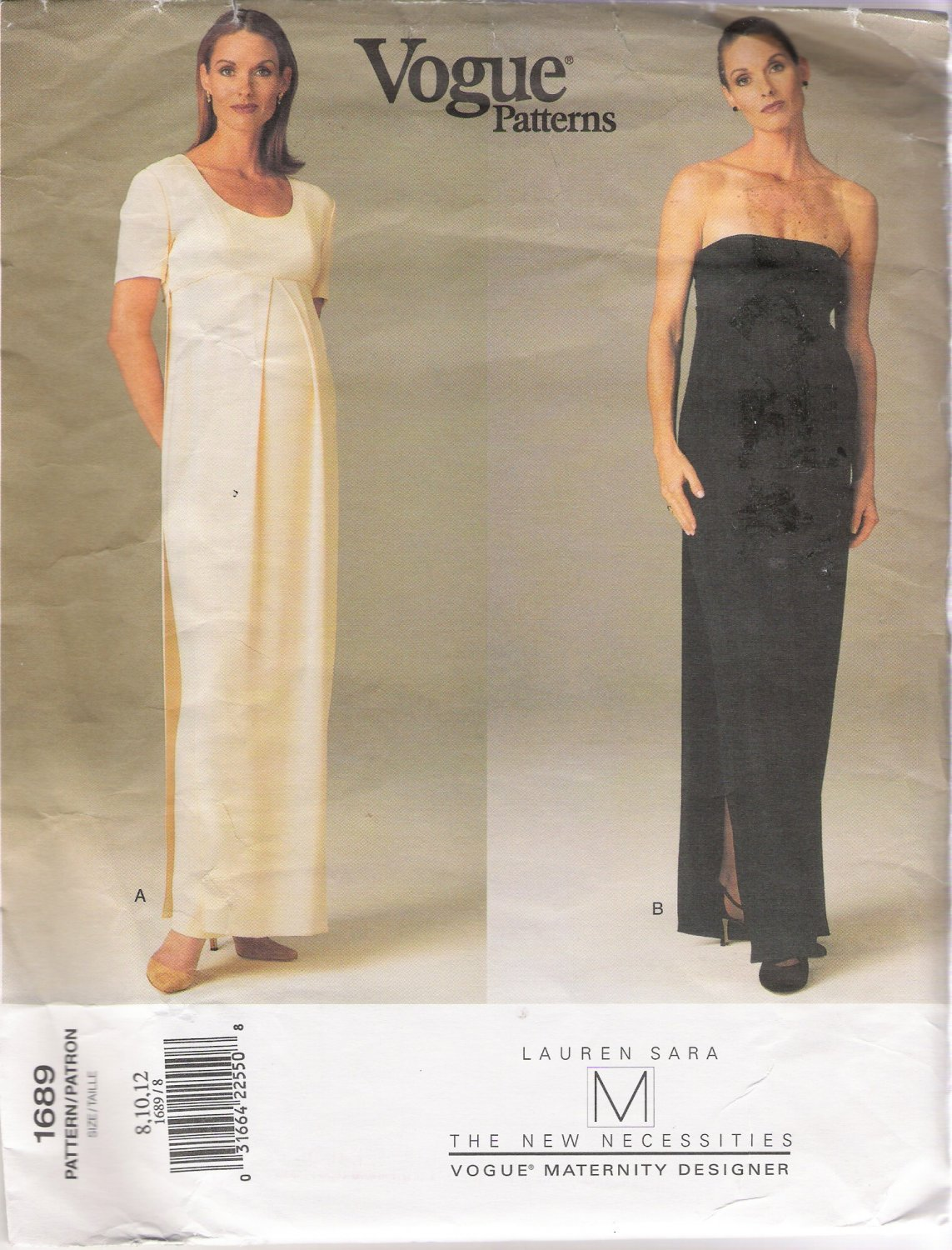Misses' Maternity Dress Sewing Pattern Size 8-12 Vogue 1689 UNCUT