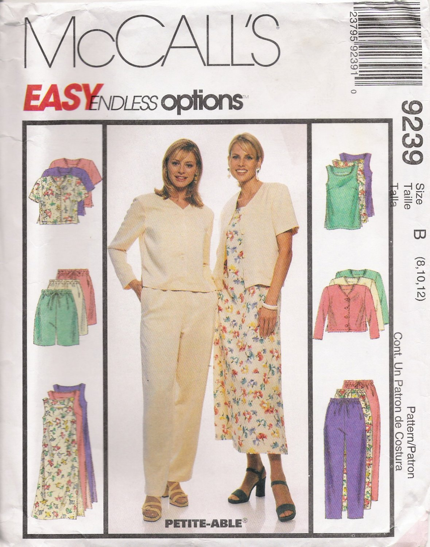 Misses' Jacket Dress Tunic Pants Shorts Sewing Pattern Size 8-12 McCalls 9239 UNCUT