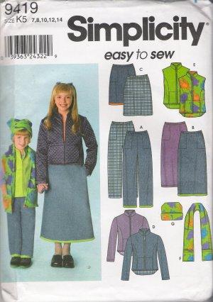 Child's & Girls' Pants Skirt Jacket Vest Scarf Hat Sewing Pattern Size 7-14 Simplicity 9419 UNCUT