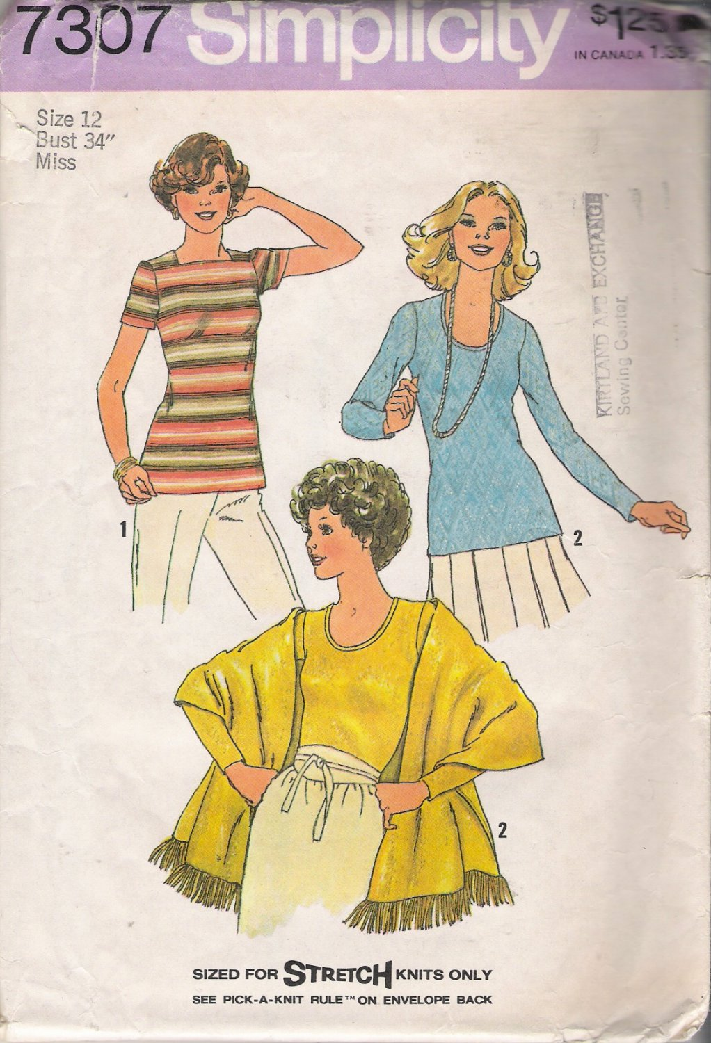 Vintage Sewing Pattern Misses' Pullover Tops & Shawl Size 12 Simplicity 7307 UNCUT