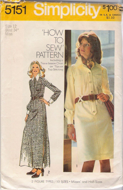 Vintage Sewing Pattern Misses' Shirt-Dress Size 12 Simplicity 5151 UNCUT