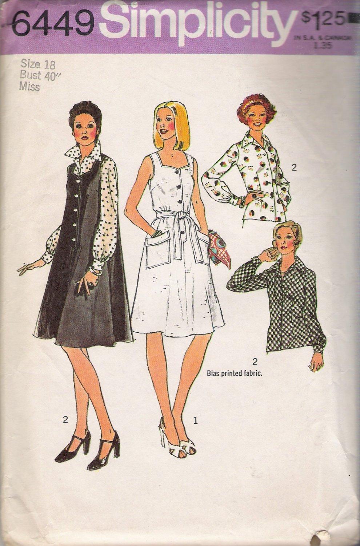 Vintage Sewing Pattern Misses' Tent Dress or Jumper & Blouse Size 18 Simplicity 6449 UNCUT