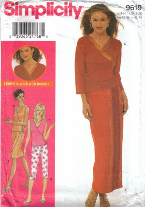 Misses' Wrap Top Skirt Pants Sewing Pattern Size 14-20 Simplicity 9619 UNCUT