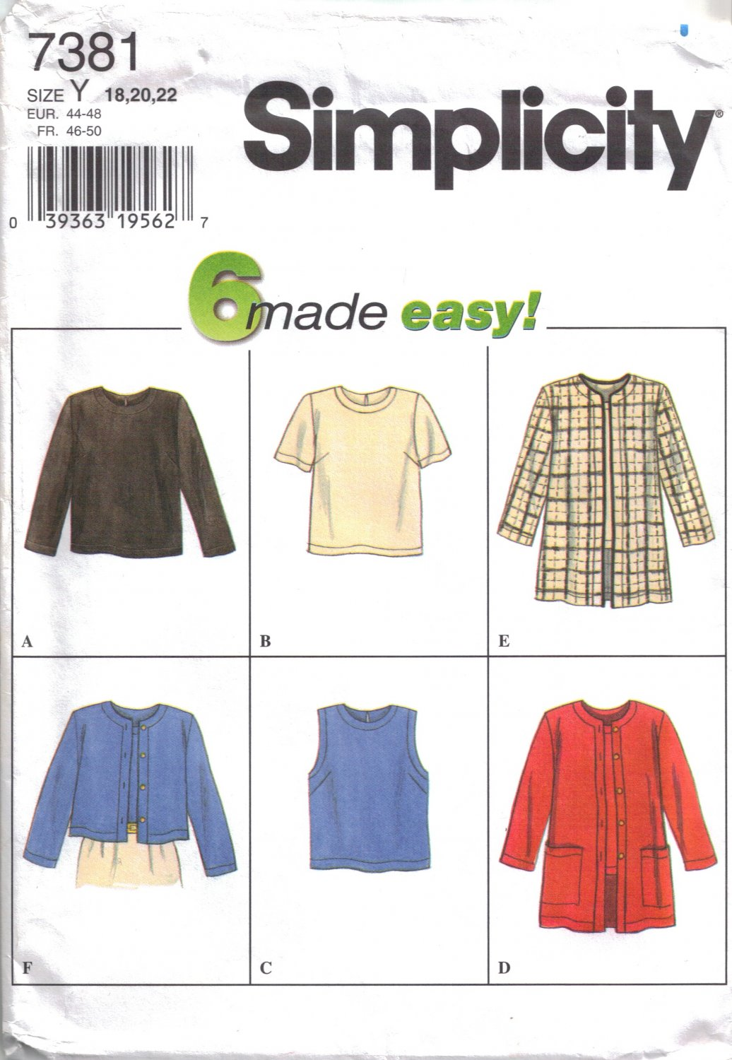 Misses' Tops & Jacket Sewing Pattern Size 18-22 Simplicity 7381 UNCUT