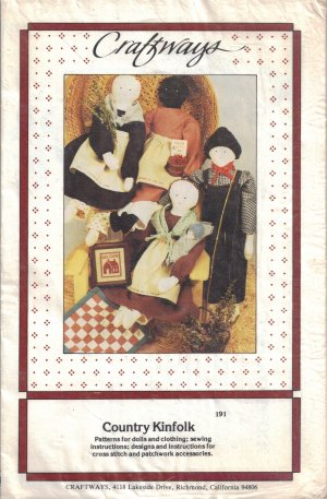 Primitive Doll, Doll Clothes, Cross Stitch Sampler & Doll Quilt Sewing Pattern Craftways 191 UNCUT