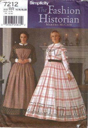 Misses' Civil War Day Dress Sewing Pattern Size 14-20 Simplicity 7212 UNCUT