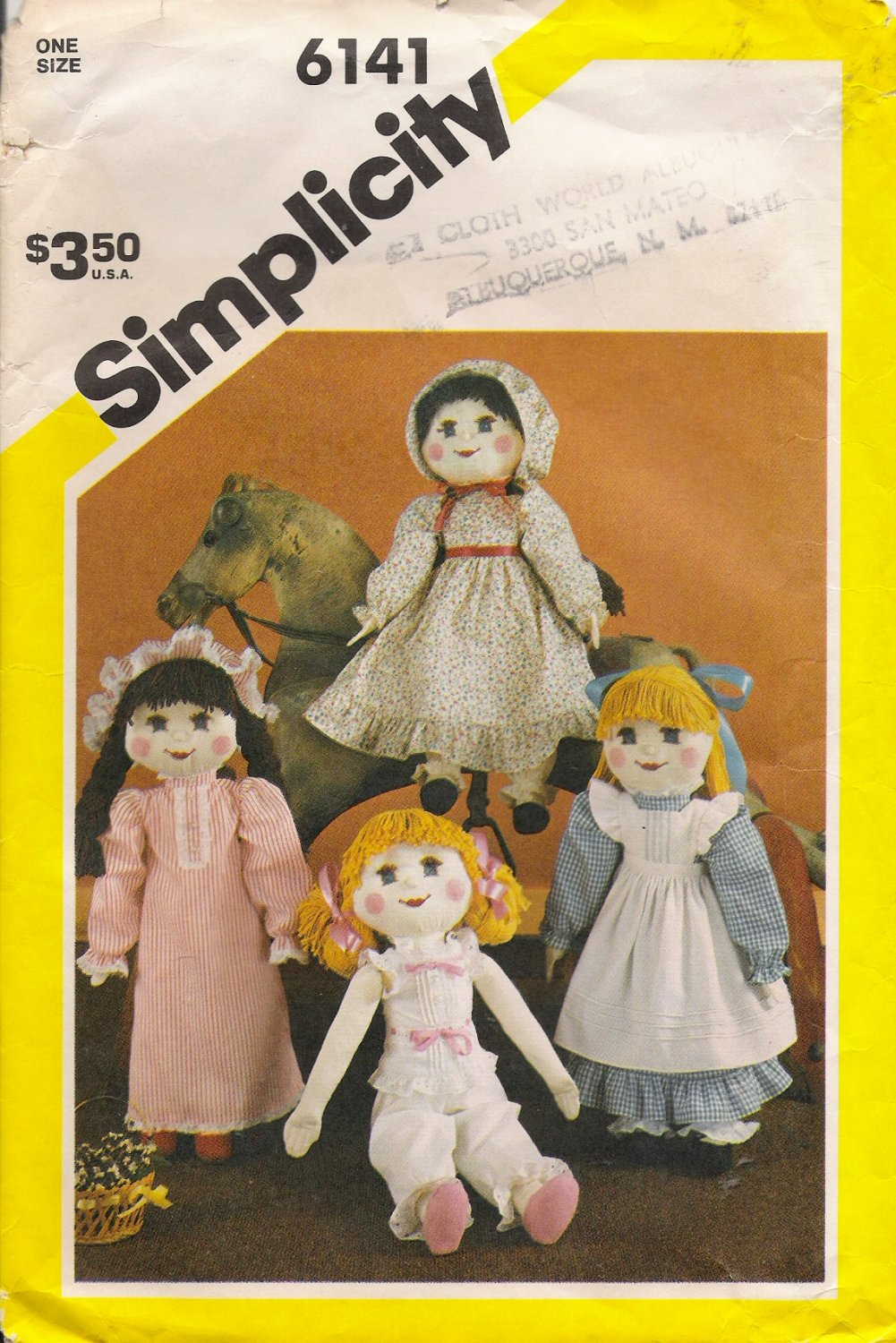 Vintage Sewing Pattern Stuffed Doll & Wardrobe Simplicity 6141 UNCUT