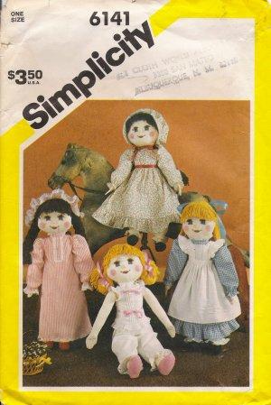Vintage Sewing Pattern Stuffed Doll & Wardrobe Simplicity 6141 UNCUT