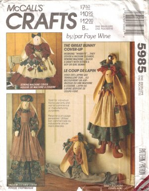 Great Bunny Cover Up Draft, Sewing Machine & Vacuum Cleaner Cover Sewing Pattern McCall's 5985 UNCUT
