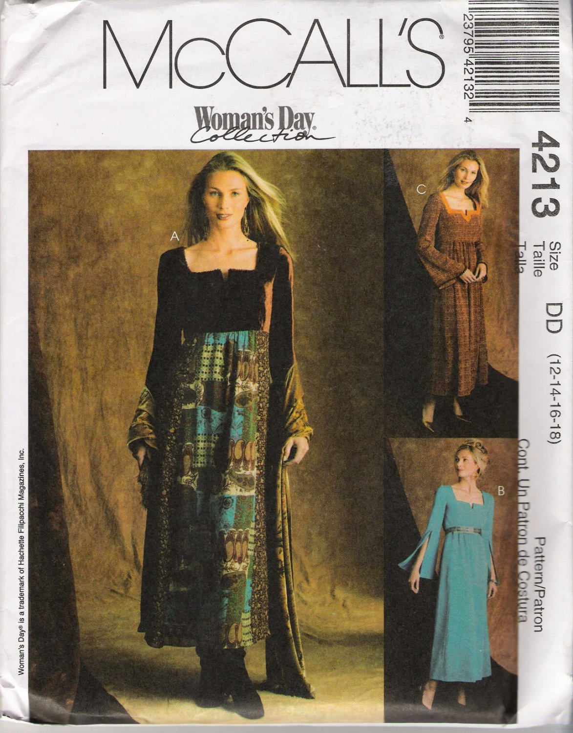 Misses' Empire Waist Dress Sewing Pattern Size 12-18 McCall's 4213 UNCUT