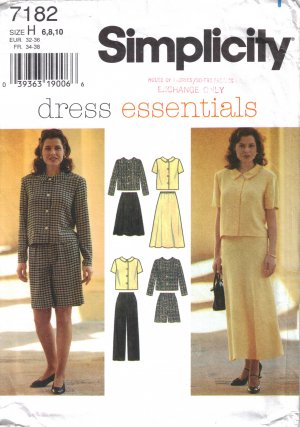 Misses' Top Skirt Pants Shorts Sewing Pattern Size 6-10 Simplicity 7182 UNCUT