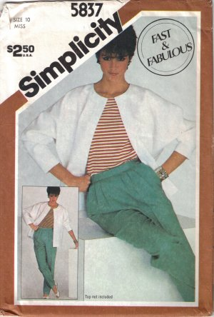 Misses' Pleated Pants & Jacket Sewing Pattern Size 10 Simplicity 5837 UNCUT