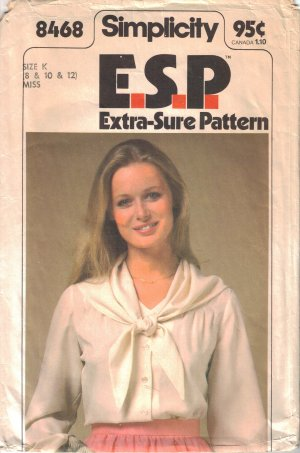 Vintage Sewing Pattern Misses' Blouse & Scarf Size 8-12 Simplicity 8468 UNCUT