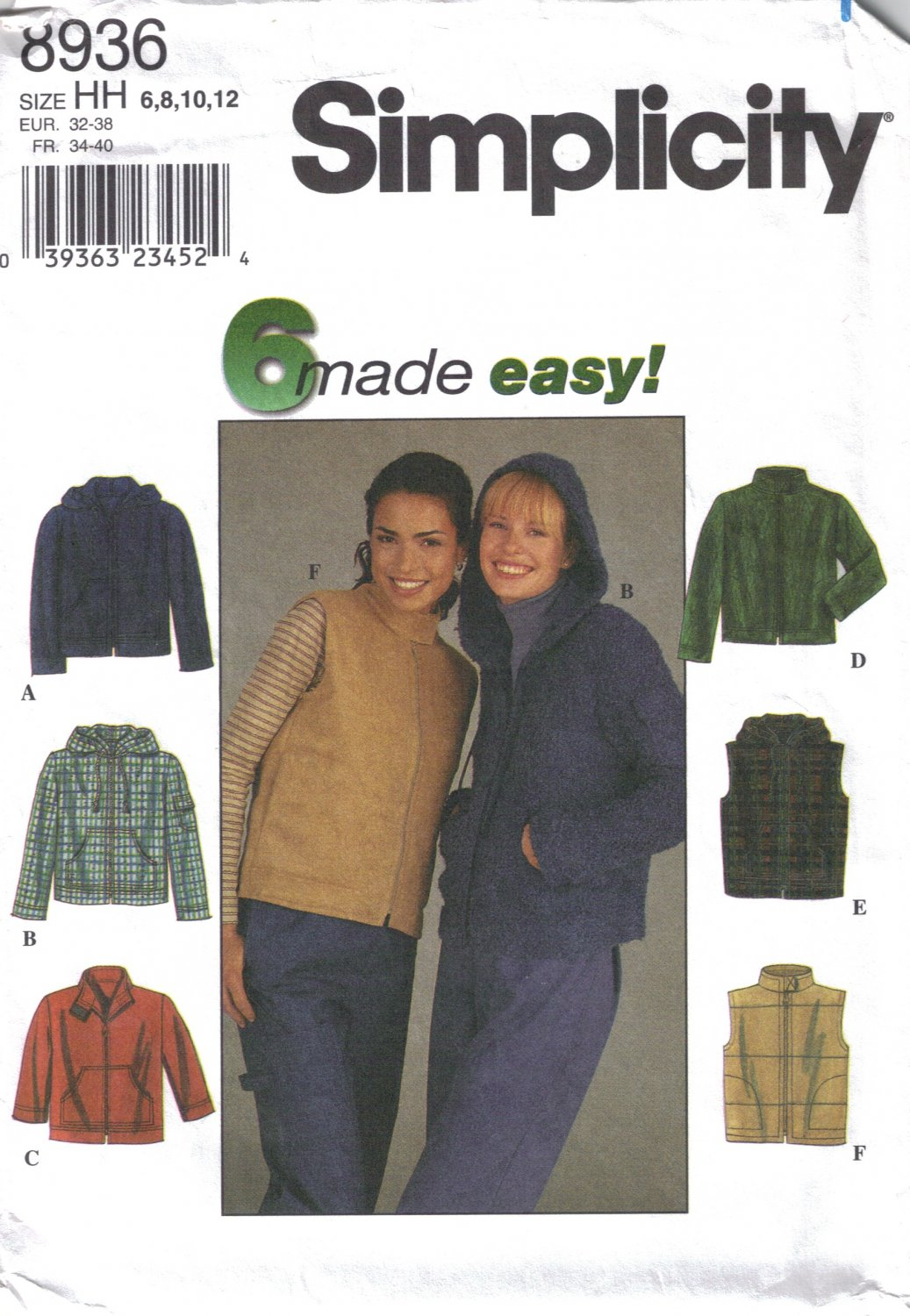 Misses' Jacket or Vest Sewing Pattern Size 6-12 Simplicity 8936 UNCUT