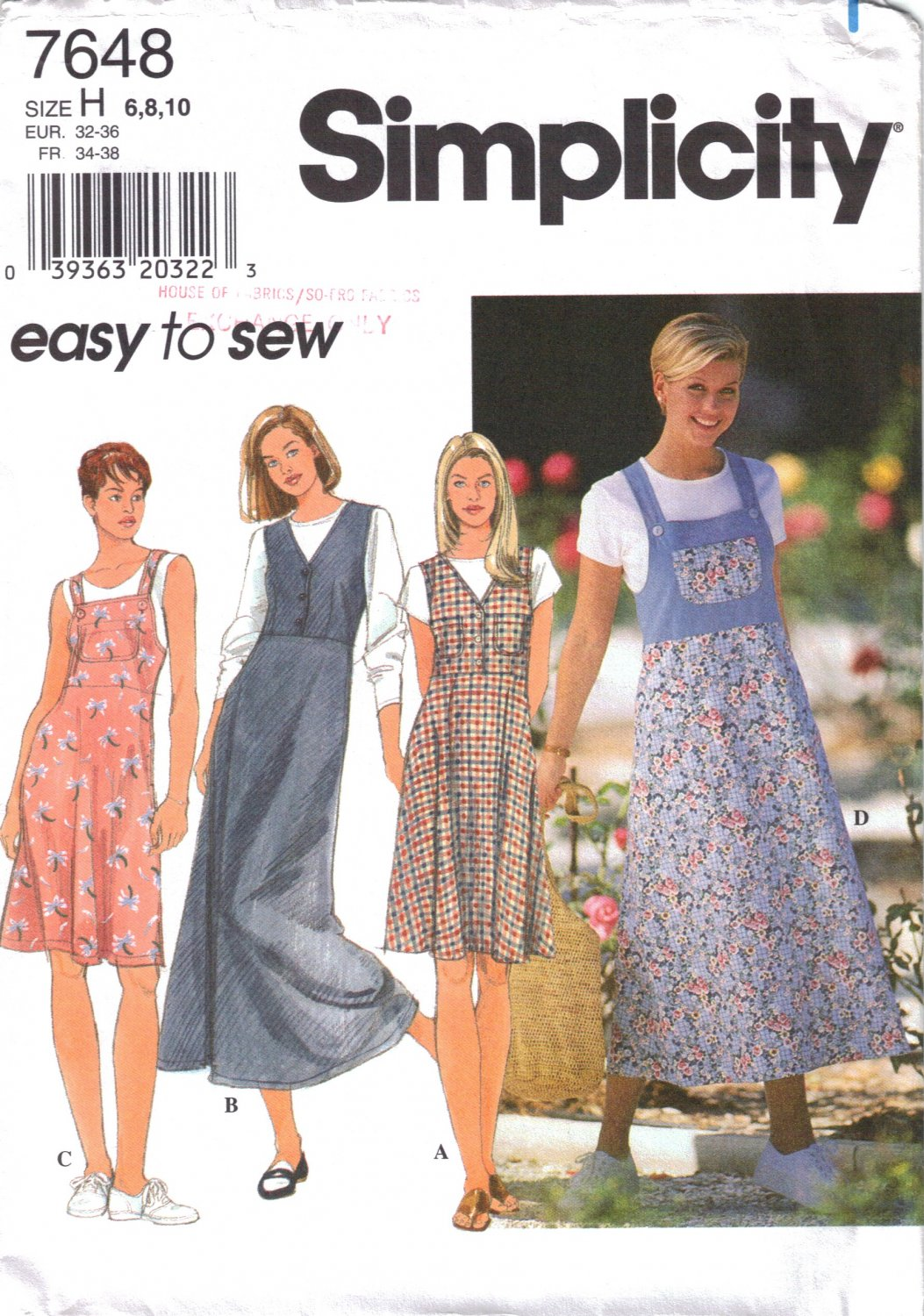 Misses' Jumper Sewing Pattern Size 6-10 Simplicity 7648 UNCUT
