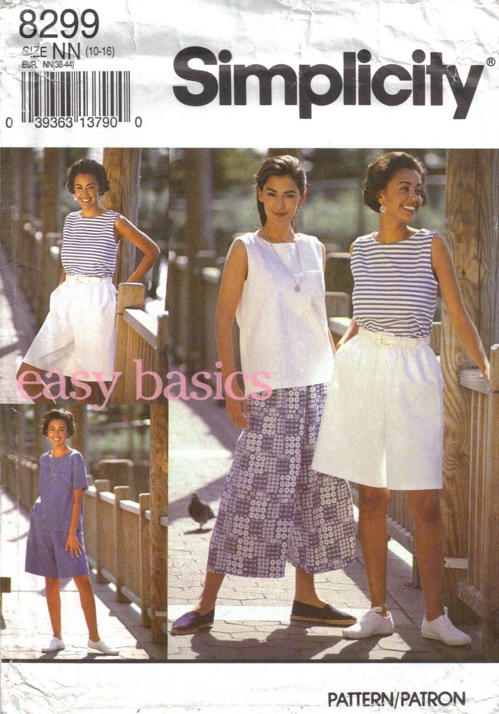 Misses' Split Skirt & Tops Sewing Pattern Size 10-16 Simplicity 8299 UNCUT