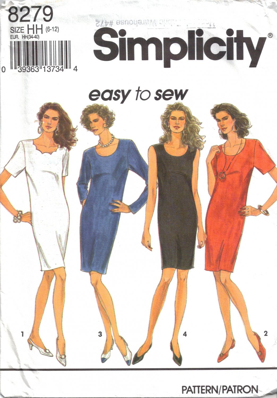 Misses' Dress Sewing Pattern Size 6-12 Simplicity 8279 UNCUT