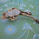 TREE FROG PIN/BROOCH Gold Color, Swarvoski Crystal Pin